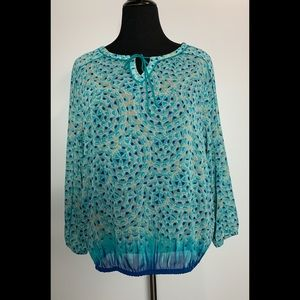 Lucky Brand Blouse Teal Print Sheer Large